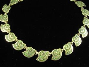 Margot de Taxco speckled blue enamel necklace
