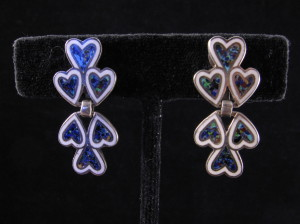 Margot de Taxco blue enamel heart earrings