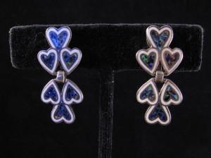 Margot de Taxco blue enamel heart earrings